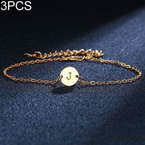 ブレスレット 女調節可能シンプルなファッションブレスレットのための3 PCS J手紙ゴールドブレスレットやバングル