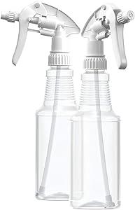 BAR5F Empty Plastic Spray Bottles 16 oz, BPA-Free Food Grade, Crystal Clear PETE1, White M-Series Fully Adjustable Sprayer (Pack of 2)
