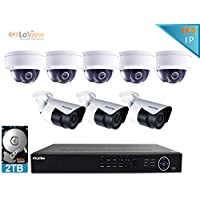 LaView 1080P IP 8 Camera Security System, 8 Channel IP PoE HDMI NVR (Resolution 1080p - 6MP) w/2TB HDD 5 Dome 3 Bullet Hi-Res 2MP White Surveillance Camera Kit