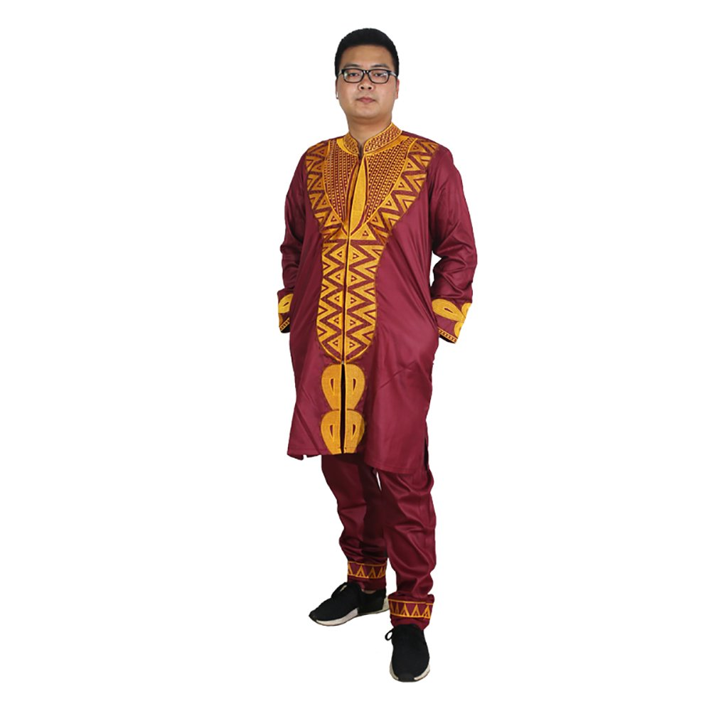 Dashiki African Bazin Riche Clothing Embroidery Pattern Top Blouse Clothes Set for Mens