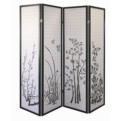 SINTECHNO S-AD590-4 4-Panel Shoji Floral Room Divider Folding Screen - 72' Room Divider