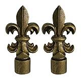 Urbanest Set of 2 Fleur de Lis Lamp Finials, 3-inch Tall, Antique Gold