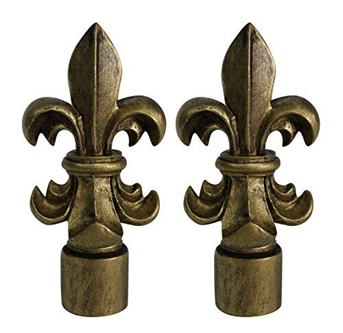 Urbanest Set of 2 Fleur de Lis Lamp Finials, 3-inch Tall, Antique Gold -