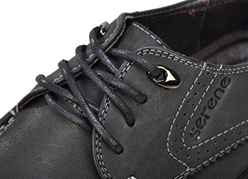 Serene Mens Brittisk Stil Finskor Bekväm Läder Spets-up Mode Affärer Skor Svart