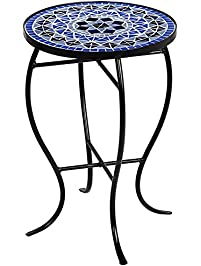 Awesome Cobalt Mosaic Black Iron Outdoor Accent Table