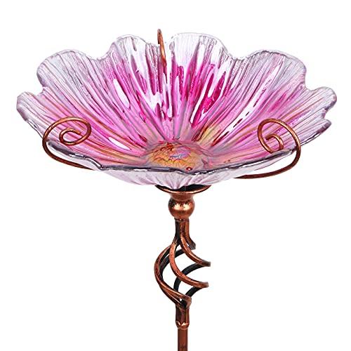 Comedero Mumtop Para Pajaros Flor Cristal Rosa - Estaca 78cm