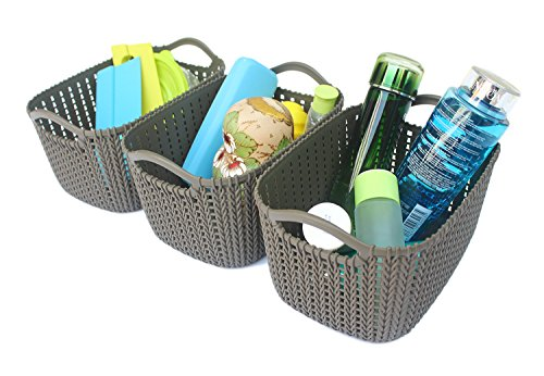 Honla Weaving Rattan Plastic Storage Baskets/Bins Organizer with Handles,Set of 3,Dark Gray (Bookcase Rattan Wide)