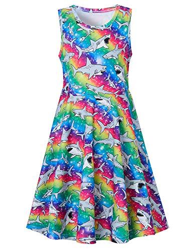 Fall Dresses for Girls,Active Primary School Girls Swing Knee-Length Shark Dresses Sleeveless Summer Rainbow Dress for Vacation Trip Size 12