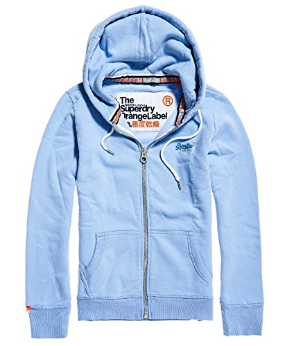 Superdry Labelprimaryziphood, Felpa Donna Blu (Frosty Blue Sf2)