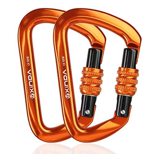 (XINDA Screwgate Locking Carabiner Clip - Professional Rock Climbing Carabiner Screw Lock, Heavy Duty Carabiners for Climbing, Mountaineer, Hammock, Camping, Outdoor Equipment(28KN Orange 2pcs))