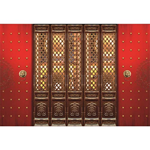 Yeele 5x4ft Vinyl Happy New Year Photography Background Spring Festival Chinese Style Year Chinese Ancient Royal Door Photo Backdrop Lucky Party Banner Decor Portrait Shooting Studio Props ()