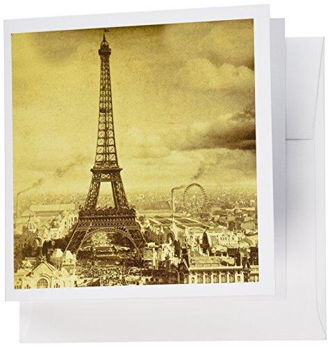 - 3dRose Eiffel Tower Paris France 1889 Sepia tone - Greeting Cards, 6 x 6 inches, set of 6 (gc_6795_1)