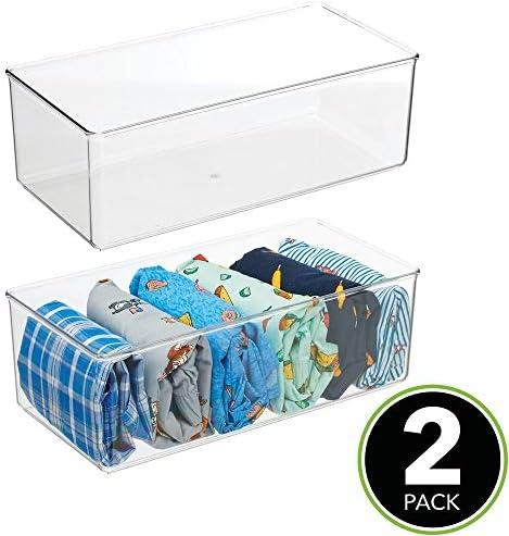transparente Fant/ástica caja para ropa y accesorios mDesign Juego de 2 cajas organizadoras Pr/áctico organizador de pl/ástico sin BPA para los armarios del dormitorio