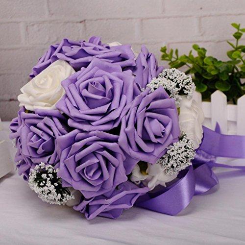 YJYdada Crystal Roses Pearl Bridesmaid Wedding Bouquet Bridal Artificial Silk Flowers (Purple)