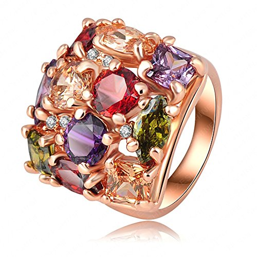 LuckyWeng Colored Crystal Big Wide Band Multi Color Gemstone Wedding Statement Rings Women 14k Rose (Multi Color Gemstone Fashion Ring)