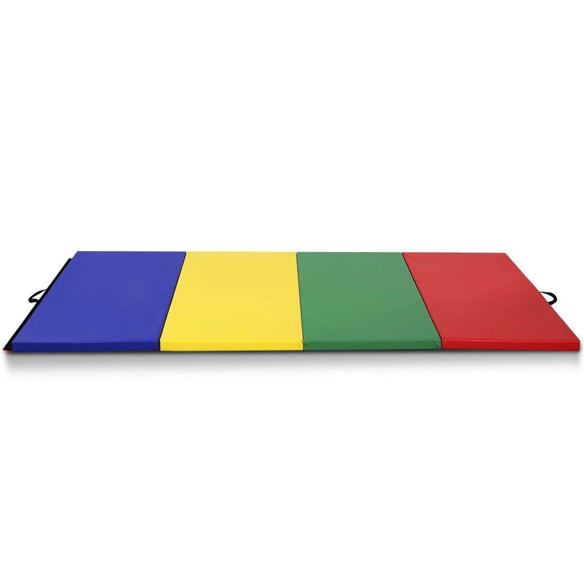 Dayanaprincess 4フィート x 8フィート x 2インチ 4色 折りたたみパネル 体操マット マルチカラー フォーム 折りたたみ式 ワークアウト フィットネス フローリング タムリング ヨガ 屋内ジッパー