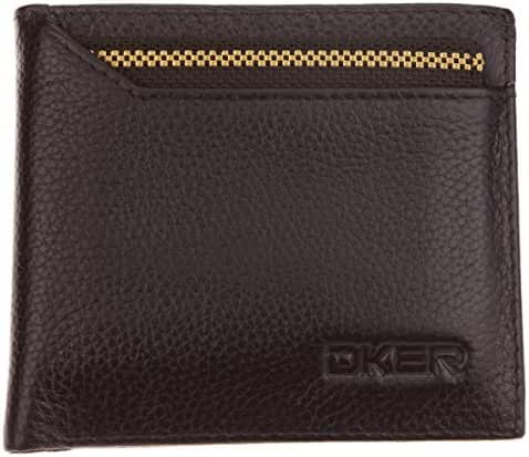 DEEZOMO Men's Equator Genuine Leather Bifold Wallet with Removable ID Window