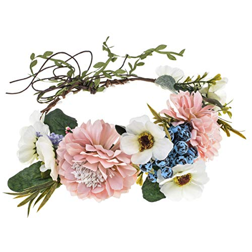 DDazzling Flower Girl Crown Bridal Flower Crown Pregnant Woman Photo Prop (Berry Blue White Pink)