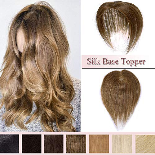 100% Silk Light - 100% Real Human Hair Silk Base Top Hairpiece Clip in Hair Topper for Women Crown in Hand-made Toppee Middle Part with Thinning Hair Loss Hair #6 Light Brown 10''20g