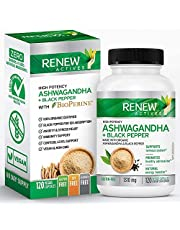 Renew Actives ORGANIC ASHWAGANDHA Capsules: 1300 Mg of Ashwagandha with 10 Mg of Black Pepper - Powerful Herbal Supplement to Help Reduce Anxiety and Support Energy Levels - 120 Veggie Supplements
