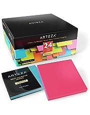 ARTEZA Notas adhesivas 76 mm x 76 mm | 24 tacos de 100 hojas | Paquete de posits de colores surtidos | Reutilizables sin dejar marca | Ideales para la oficina y el hogar