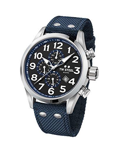 TW Steel Men's 'Volante' Quartz Stainless Steel and Nylon Dress Watch, Color:Blue (Model: VS33)