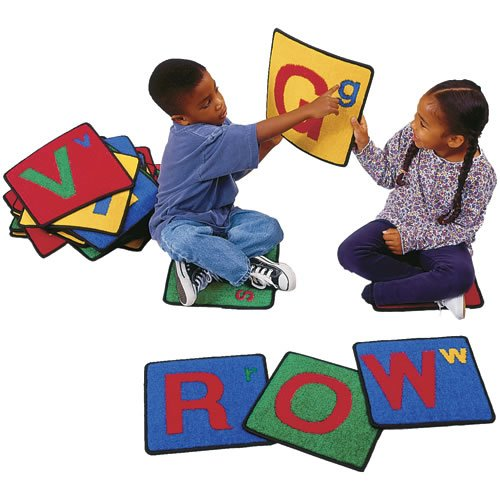 Carpets for Kids 926 Alphabet Carpet Squares Size: 1' x 1' 1' x 1' , 12'' x 12'', Multicolored by Carpets for Kids