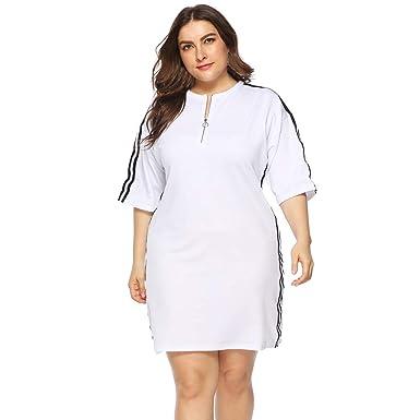 Plus Size White Dress Bxzhiri Women Casual O Neck Short ...