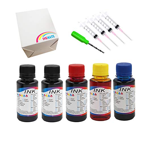 INKMATE Premuim 5 x 100ml Dye Ink Refill Kit for 952 / 952XL for OfficeJet Pro 8710 8715 8720 8725 8730 8740 Fit Refillable Ink Cartridge