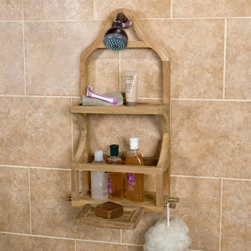 Teak Shower Caddy Bathroom Shelf Wall Storage Rack Bath Organizer Holder Shelves with Removable Soap Dish by Shower Caddies