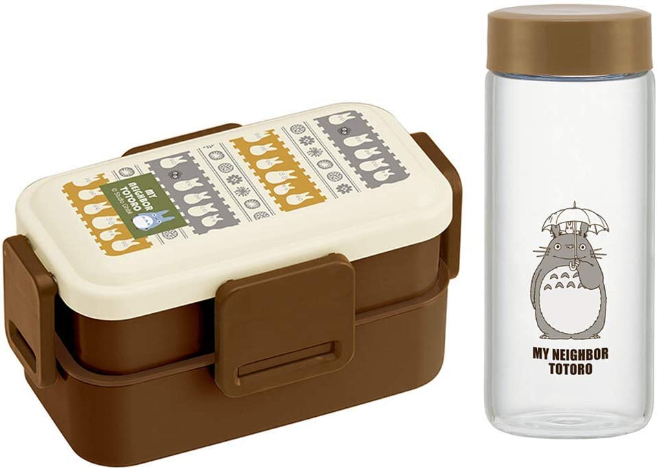 Skater Mini Totoro Bento Box Set - 20 oz Two Tiers Japanese Lunch Box, with 10 oz Glass Water Bottle (Mini Totoro Bento(Two Tier),Bottle)
