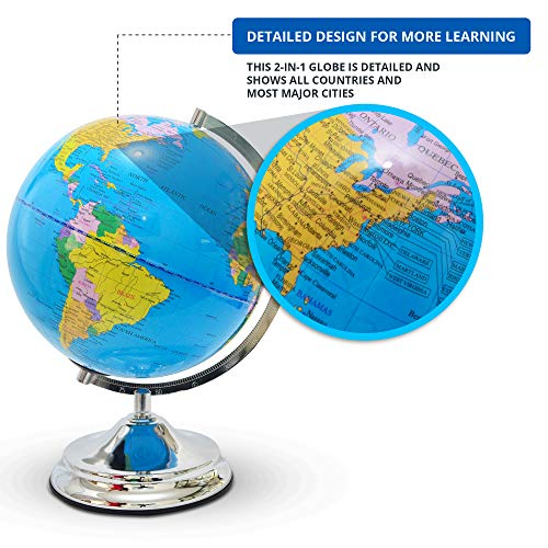 Illuminated Kids Globe with Stand – Educational Gift with Detailed World Map and LED Night Light (Power Cord Included) by Home Premium (Image #2)