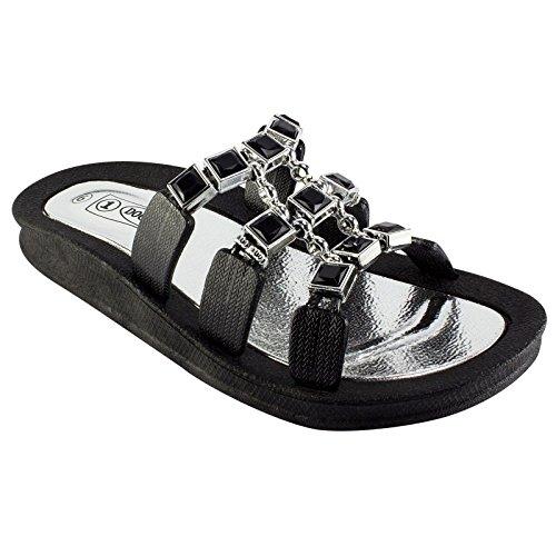 1 Molo Sandalo Con Zeppa Nera Con Zeppa Di Ebano Da Donna Taglia 7