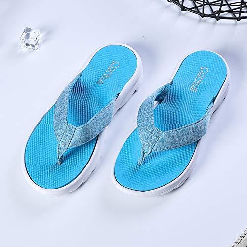 Shoe Coreana Indossano Infradito Spesse Chiaro Blu Spesso I Piedi Confortevole Estate Attraverso Qsy Fondo aqTfFF