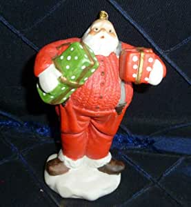 1981 Dept. 56 Bisque Porcelain Santa Claus Christmas Ornament - Wearing Suspenders