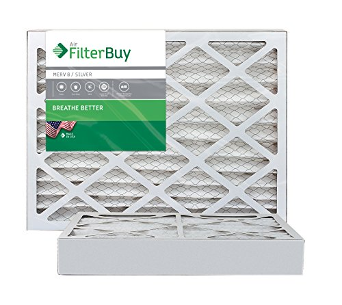 AFB Silver MERV 8 10x20x4 Pleated AC Furnace Air Filter. Pack of 2 Filters. 100% produced in the USA.
