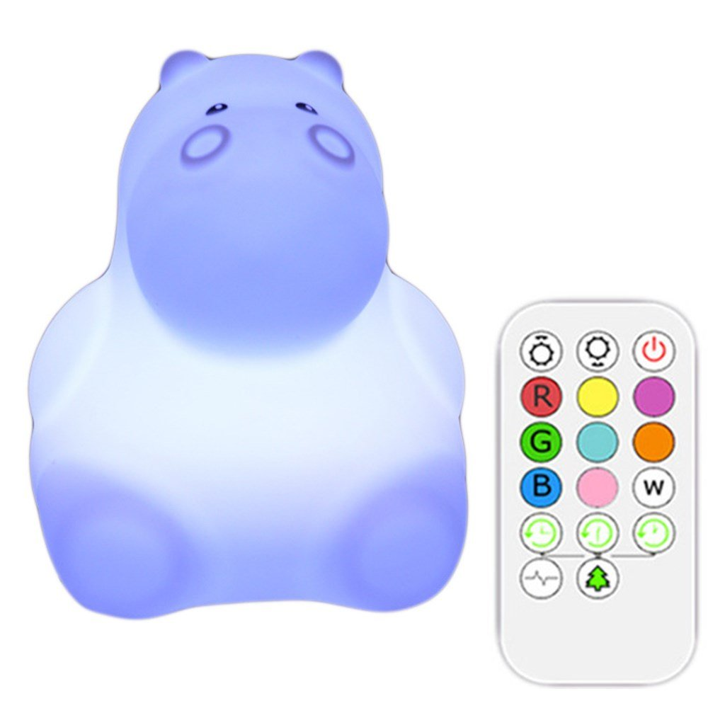 Xmeilo Cute Animal Rechargeable Silicone Baby LED Nursery Night Lights Lamp with Touch Sensor, Remote Control and Timer Hippo