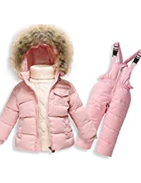 MIQI Boys' Girls' Ultralight Snowsuit Winter Puffer Jacket and Overall Two-piece set
