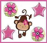 5 BALLOON party SUPPLIES MOD MONKEY FLOWER favor BABY SHOWER JUNGLE safari
