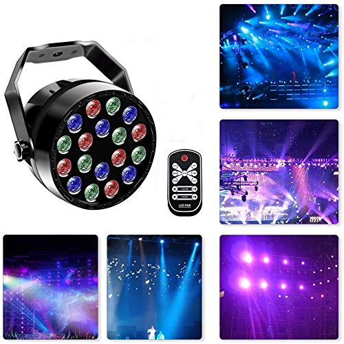 Led Par Can Disco Lights 18LED DMX512 RGB 7 Lighting Modes Disco Lighting Effect Dj Stage Lights Sound Activated Spotlight Projector with IR Remote Control Microphone for DJ KTV Disco Parties