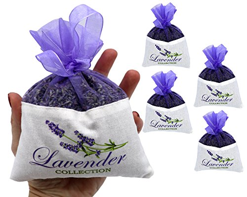 Fresh Harvest 2017 From The French Provence 4 Extra Large Lavender Sachet - 4 Packs - 50 Grams Each - Cozy Pouch Sachet Filled with Dried Lavender Flower Buds - (Lavender Harvest Provence)