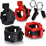 """6 Pcs Barbell Clamps, 4 Weight Clips 2"""" for Olympic Weight Bar Plate & 2 Fitness Spring Clips 1"""" for Stand"""