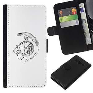 NEECELL GIFT forCITY // Billetera de cuero Caso Cubierta de protección Carcasa / Leather Wallet Case for Samsung Galaxy A3 // Pluma Time Clock