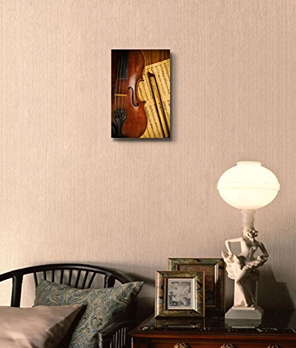 Old Used Violin and Note Close Up Vintage Retro Style Musical Instrument Concept Wall Decor