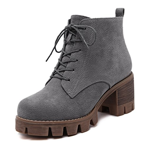 CXQ-Boots qin&X Women's Block Heel Heels Round Head Short Ankle Boots Shoes Grey Fm6OkYw