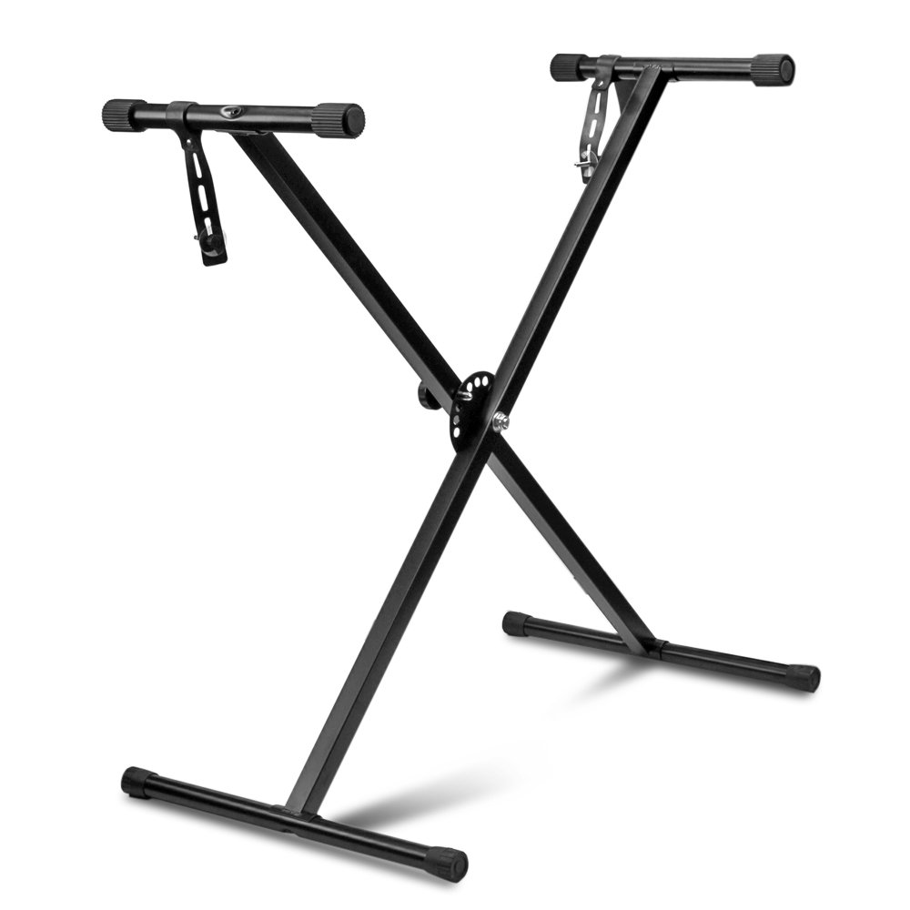 Flexzion Classic Keyboard Stand Musician Electronic Piano Organ Single Tube X Type 7 Position Folding Adjustable Height Metal Braced Rack Portable with Locking Straps
