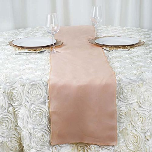 Efavormart Peach Premium Polyester Table Top Runner for Weddings Birthday Party Banquets Decor Fit Rectangle and Round Table