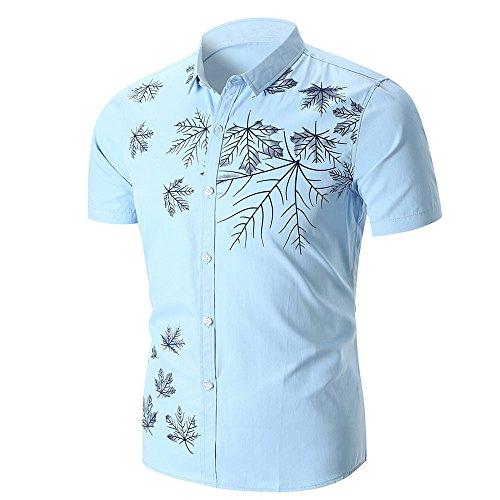 (OUBAO T Shirt for Men Short Sleeves Button Down Hawaiian Work Wear Shirts Tanks T-Shirt Tops Bottom Blouse Fit Camp (Medium, Blue) )