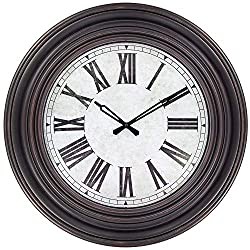 45Min 20 Inches Retro Round Large Wall Clocks, Silent Non Ticking Battery Operated Movement Easy to Read Wall Clock with Roman Numerals