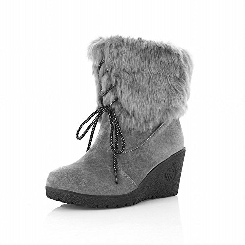 Show Shine Women's High Quality Nubuck and Faux Cony Hair Fold Over Wedge Platform Snow Boots